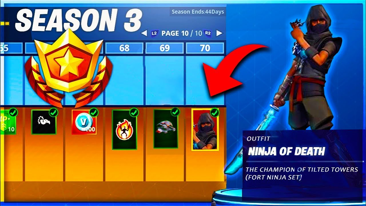 Season 3 Max Rank Battle Pass Ninja Skin In Fortnite All Unlocks