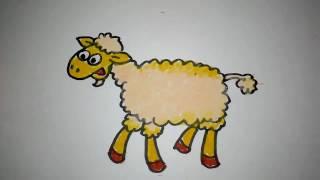 cara menggambar domba lucu