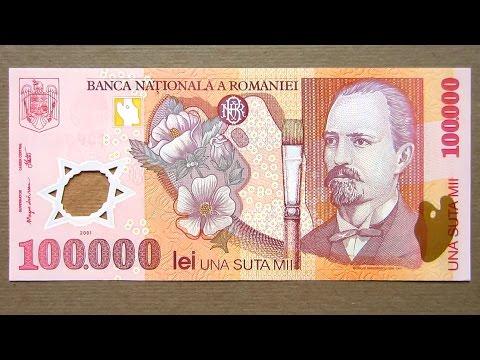 100000 Romanian Lei Banknote Hundred Thousand Lei Romania 2001
