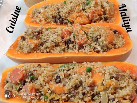 recette-végétarienne:-courge-butternut-farcies,-القرع-الاحمر-محشي-بالبرغل-والخضار