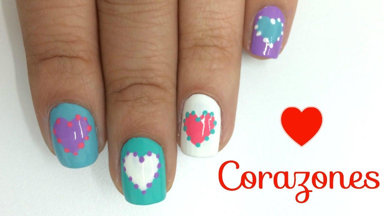 Decoracion De Uñas Corazones Heart Nail Art Youtube