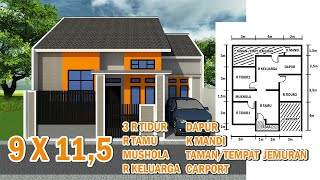 Desain Rumah Minimalis  - Ukuran 9 X 11,5  Request Desain