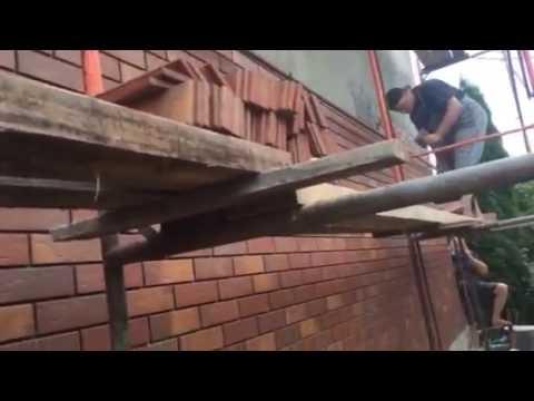 Штукатурка стен фасада и клинкерная плитка