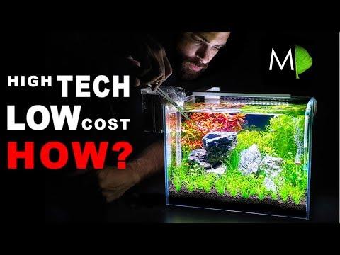 HIGH TECH: LOW COST || $134 AQUARIUM & Planted AQUASCAPE (HOW TO: Filter, Ferts, co2, Lighting, NANO