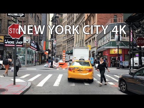 New York City 4K - Wall Street - Driving Downtown  USA