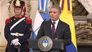 Declaración conjunta de los presidentes Mauricio Macri e Iván Duque Márquez