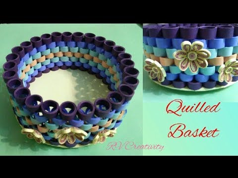 Quilled basket | how to make beautiful paper basket. #papercarft #paperbasket
