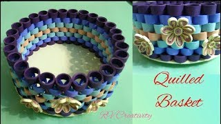 Quilled basket | how to make beautiful paper basket | DIY paper craft