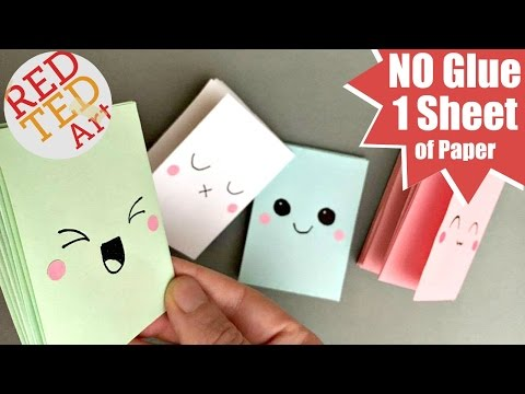 Easy Mini Notebook from ONE sheet of Paper - NO GLUE - Mini Paper Book DIY - Easy Paper Crafts