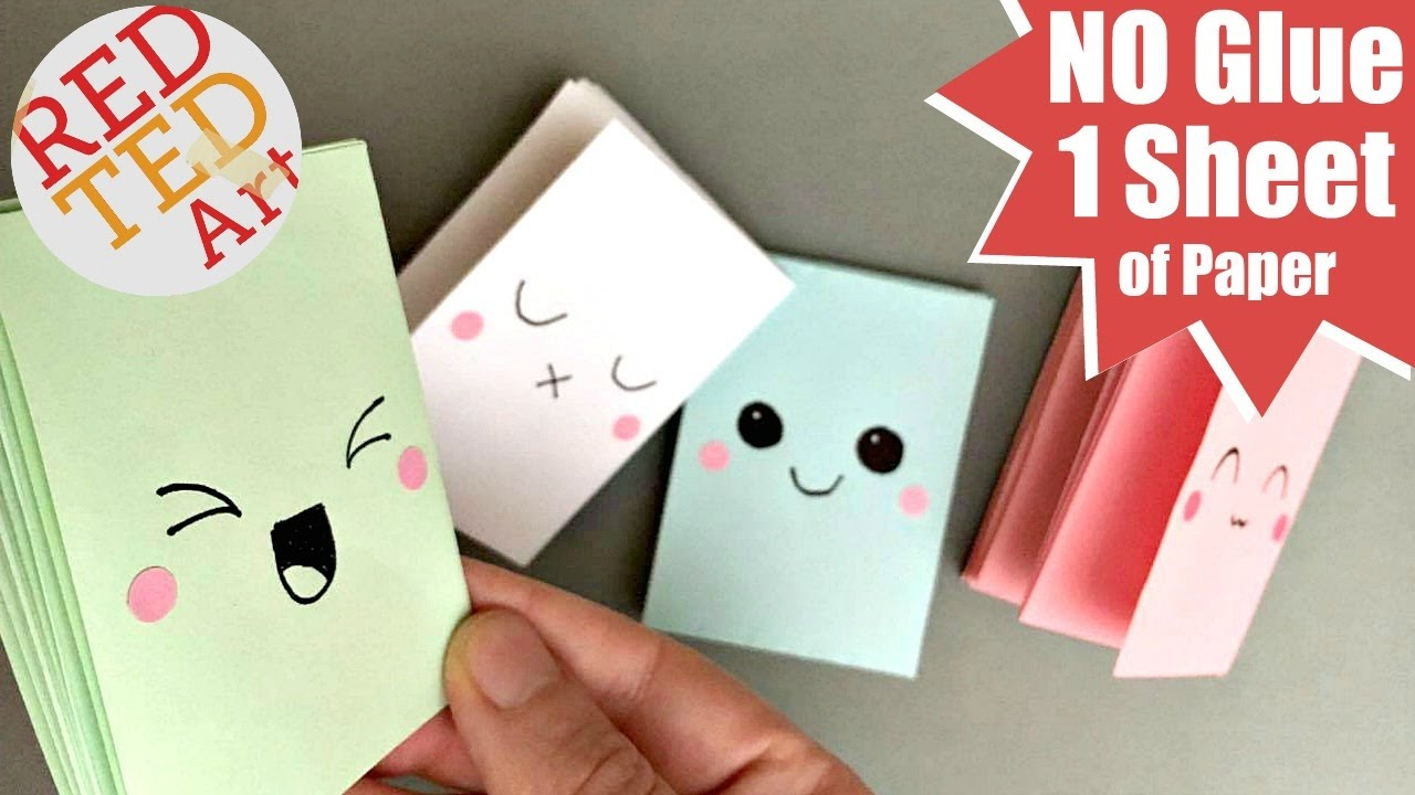 Easy Mini Notebook From One Sheet Of Paper No Glue Book Diy Crafts You
