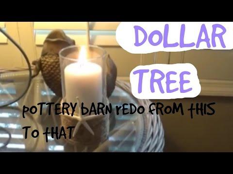 Dollar Tree DIY Pottery Barn Redo Coastal Beach Candle Holder