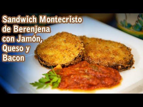 Sandwich Montecristo de Berenjena con Jamon, Queso y Bacon Exclusivo