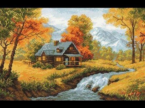 Осенний пейзаж отчет №3 Риолис 1079 Вышивка крестом