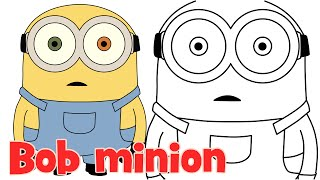 How to draw Minion Bob from Despicable Me 2 step by step easy for kids