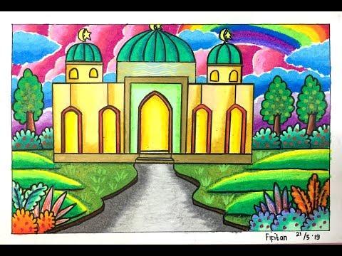 Cara Gradasi Warna Ep 132 Tema Gambar Rumah Ibadah Masjid Youtube