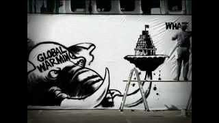 Malcom Evans pinturas gigantes de dibujos animados para Greenpeace