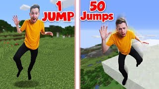 Minecraft Survival Except Every Time You Jump You Jump Higher!