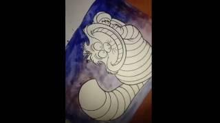 Рисую Чеширского кота акварелью.Алиса в стране чудес💙🌚