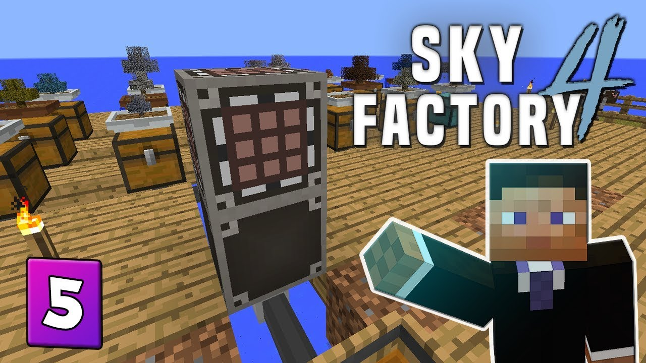 SkyFactory 4 - EP 5 Dimension travel & Simple storage network