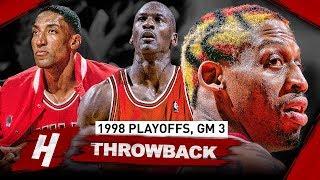 Michael Jordan, Scottie Pippen & Dennis Rodman Game 3 Highlights vs Nets 1998 Playoffs - EPIC