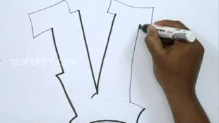 How to Draw Graffiti Letter V