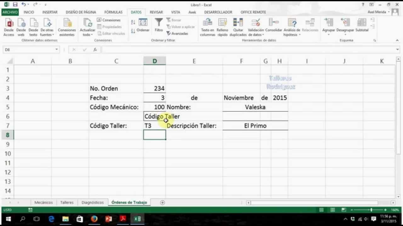 Tutorial Excel Hoja Órdenes de Trabajo - YouTube