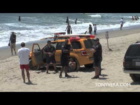 Man had a lot to Drink & jumped off the Venice Pier & Lifeguards & LAPD saved his Life