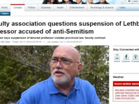 Academic freedom? Thought police come for Prof. Anthony Hall, suspended under Zionist lobby pressure