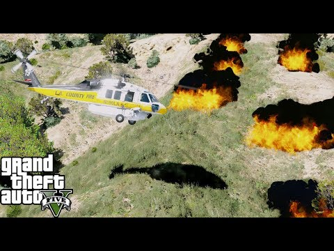 GTA 5 Firefighter Mod - Firehawk Fighting A Wild Fire In Los Santos By Dropping Water On The Fire