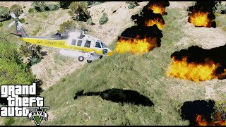 GTA 5 Firefighter Mod - Firehawk Fighting A Wild Fire In Los Santos By Dropping Water On The Fire