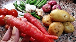 Gajar Aloo Ki Sabzi-नये तरीके से बनाये आलू गाजर की सब्जी-Aloo Gajar Matar Sabzi-Potato Carrot & Peas
