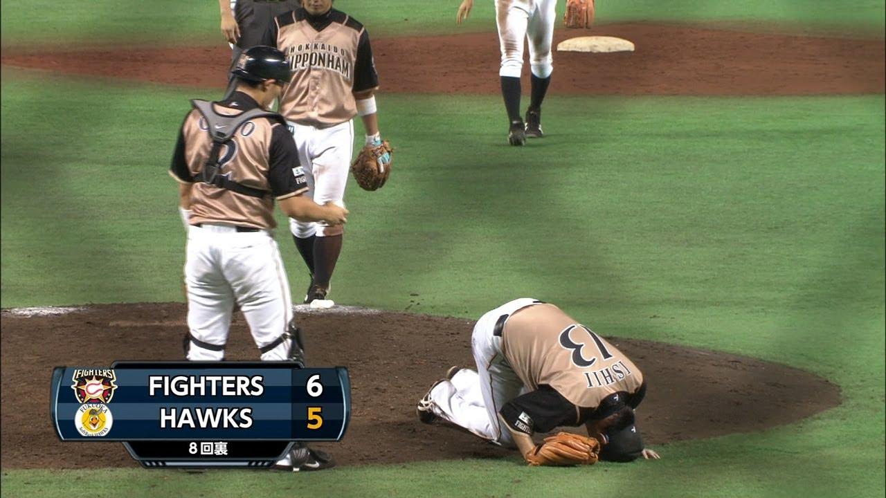 【プロ野球パ】ペーニャの強烈打球を受けて石井が崩れ落ちる ...