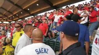ANGEL FANS GETTING THEIR ASS KICKED @ ANAHEIM STADIUM!!!!!!