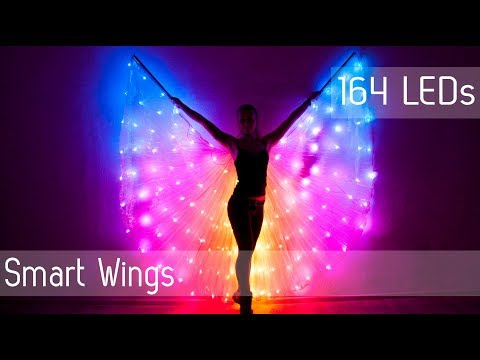 SMART LED light up rainbow Bellydance wings 164 LEDs