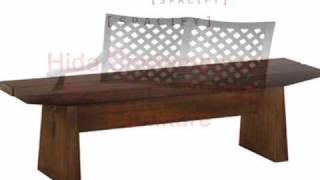 Modern Outdoor Garden Benches In Teak And Metal For Patio Or Deck.