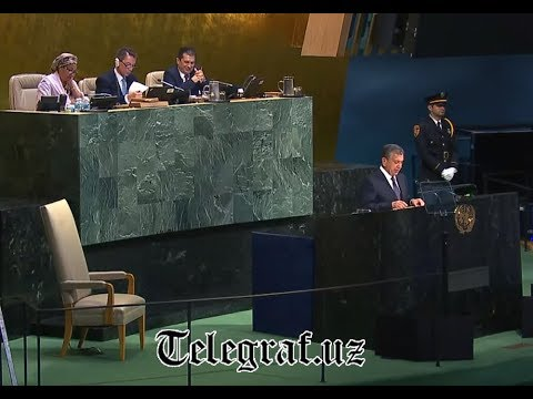 Uzbek President Shavkat Mirziyoyev speaks on the summit of UN General Assambly