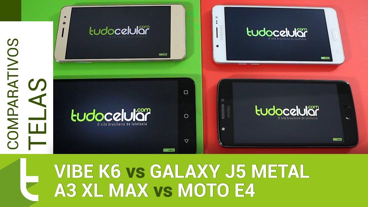 13143e85ceb Vibe K6, Galaxy J5 Metal, A3 XL Max e Moto E4 | Comparativo de telas  TudoCelular