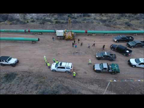 Trans Pecos Fracked gas Pipeline 2017 Lock Down. Droner Louis Moncivias