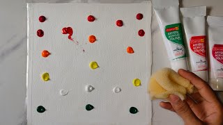 Easy abstract painting technique with sponge. Abstract painting for beginners. Easy acrylic painting
