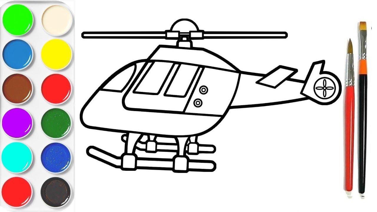 Colorier Un Helicoptere Apprendre Les Couleurs Video Educative Youtube