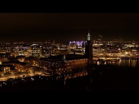 5565. Stadshuset (Stockholm City Hall - Nobel) Drone Stock Footage Video