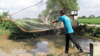 Cast Net Fishing in Cambodia at Kandal Province