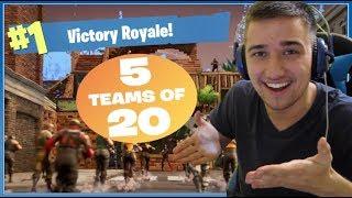 Fortnite: Battle Royale | BOŽÍ MODE TEAMS OF 20!! Výhra?? | Jakub Destro CZ/SK