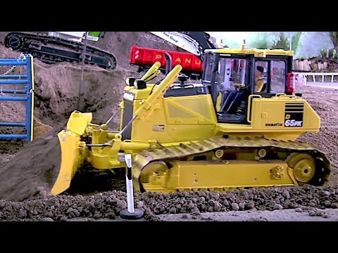 RC Dozer KOMATSU D65 PX at the construction site