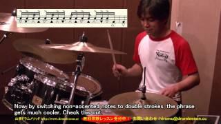 山背式モーラー奏法の応用例。山背ドラムメソッドhttp://www.drumlesson...
