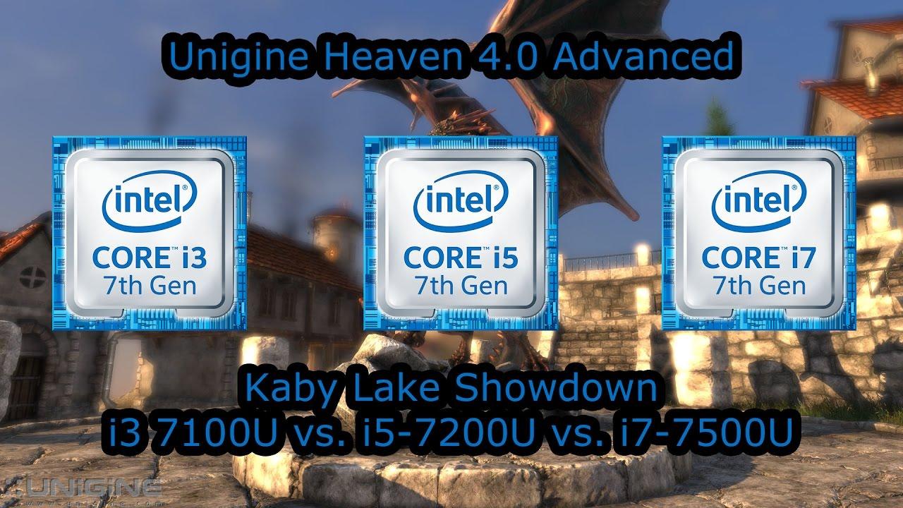 kaby lake showdown intel core i3 7100u vs i5 7200u vs i7 7500u unigine heaven 4 0 advanced. Black Bedroom Furniture Sets. Home Design Ideas
