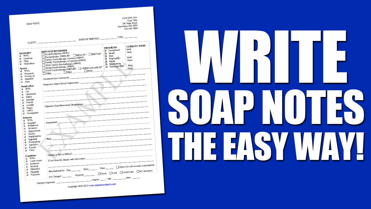 Write Soap Notes The Easy Way Using A Soap Note Template Youtube