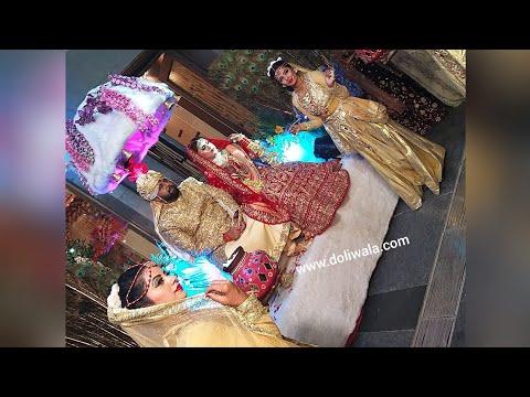 couple-palki-wedding-entry---apsara-theme-||-palm-green-delhi-||-doliwala-events-+919015608586