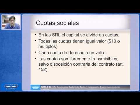 SRLGeneralidades  Capital Social  Cesión de cuotas sociales  Órganos de administración y gobierno
