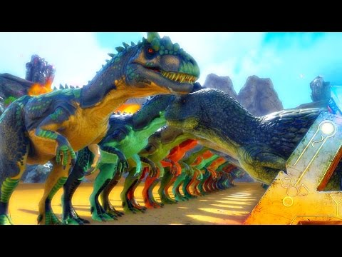 ARK Survival Evolved - 300 ALLO VS 300 CARNO ( Allosaurus VS Carnotaurus Gameplay Battle )